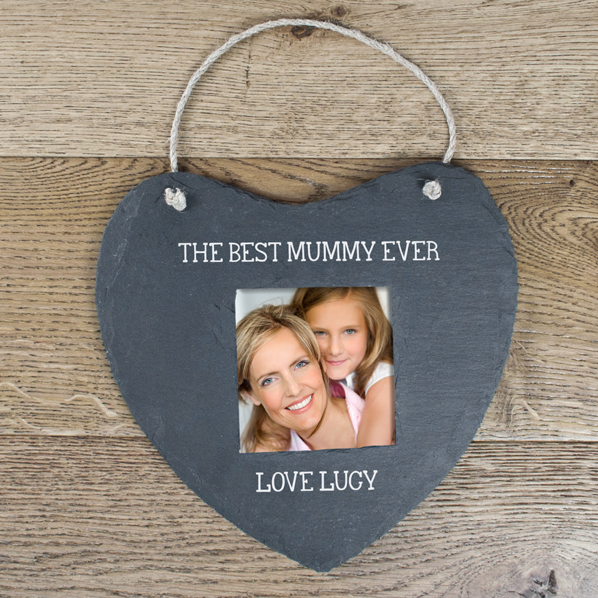 Personalised Best Mummy Ever Slate Heart Photoframe