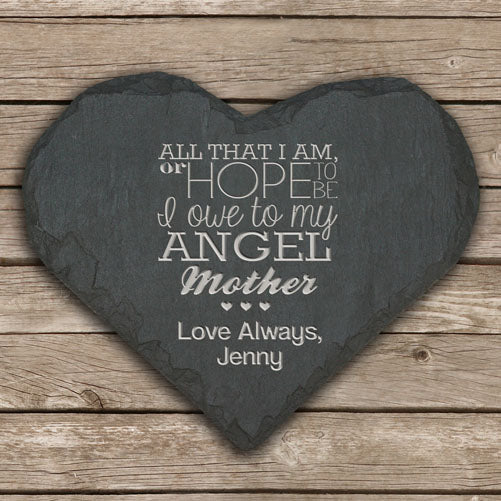 Personalised 'My Angel Mother' Slate Heart Keepsake