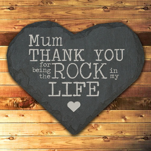 Personalised 'Thank You Mum' Slate Heart Keepsake