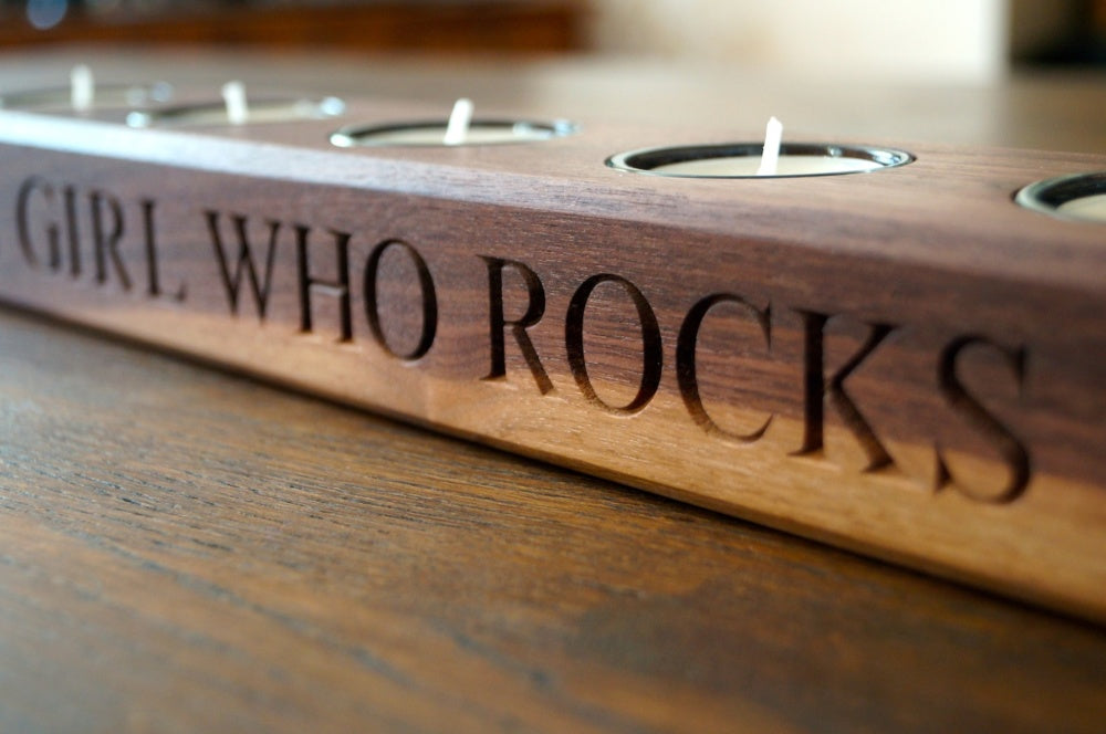Personalised Oak Tea Light Holders