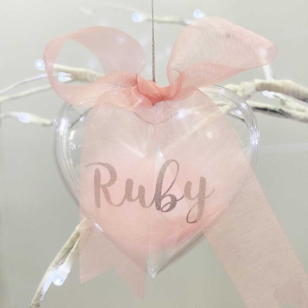 Personalised Pink Feather Filled Heart Bauble
