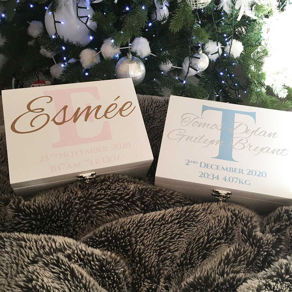 Initial & Name White Luxury Wooden Keepsake Box (Pink, Blue, Silver or Gold)