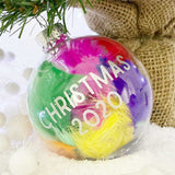 Personalised Rainbow Feathers Glass Bauble