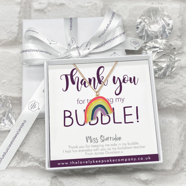 Rainbow Necklace Personalised Thank You Bubble Teacher Gift Box