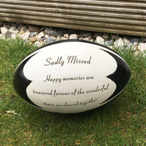 You added Rugby Ball Outdoor Memorial - Sadly Missed to your cart.