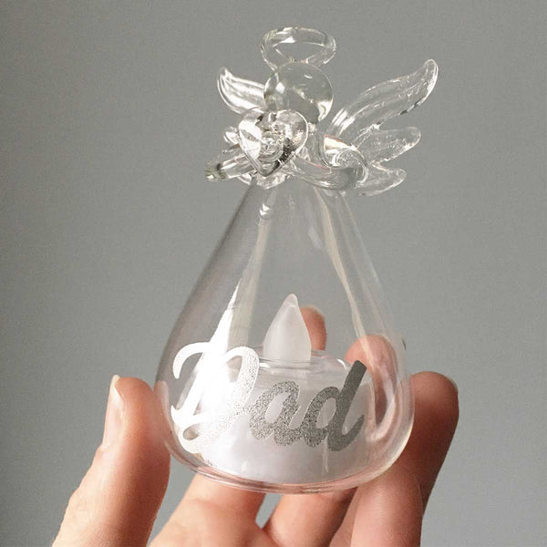 Glass Memorial Angel LED Candle Ornament