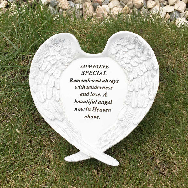 Angel Wings Heart Outdoor Memorial - Someone Special