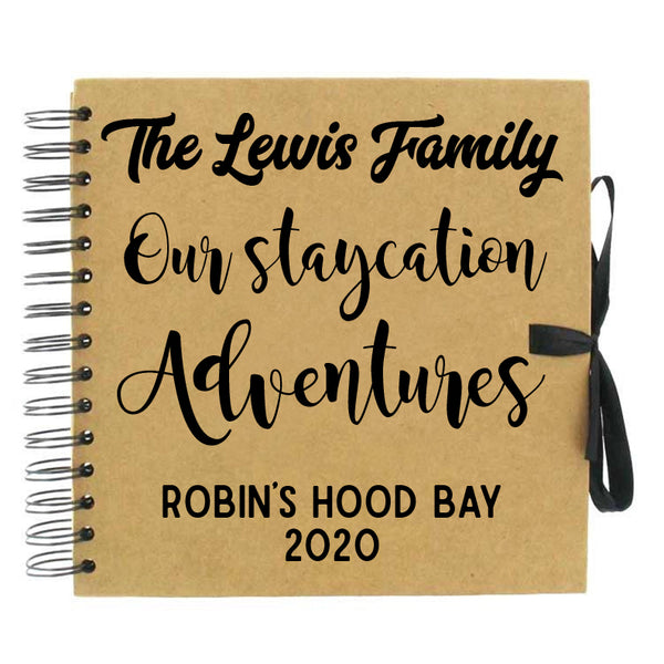 Personalised 'Staycation Adventures' Scrapbook (Kraft, Black, White)