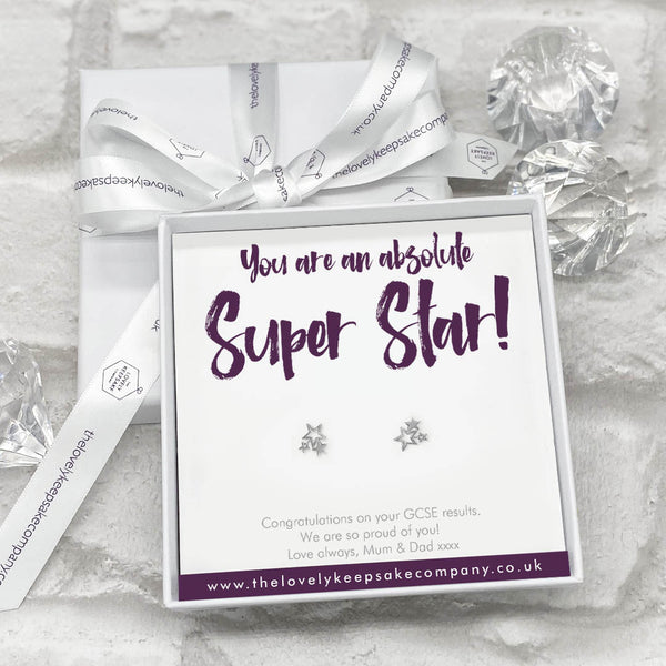 Sterling Silver Cluster of Stars Earrings Personalised Gift Box - Congratulation Messages