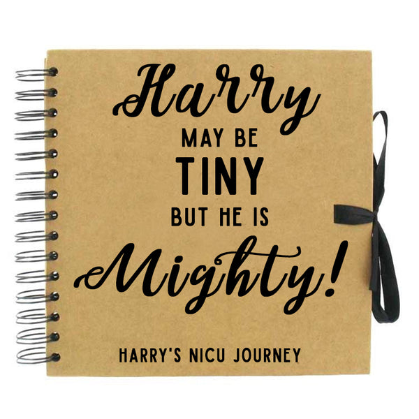 Tiny But Mighty Pesonalised NICU Journey Scrapbook (Kraft, White)