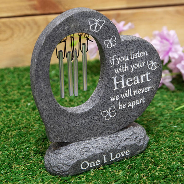 Thoughts of you Graveside Stone Heart Wind Chime