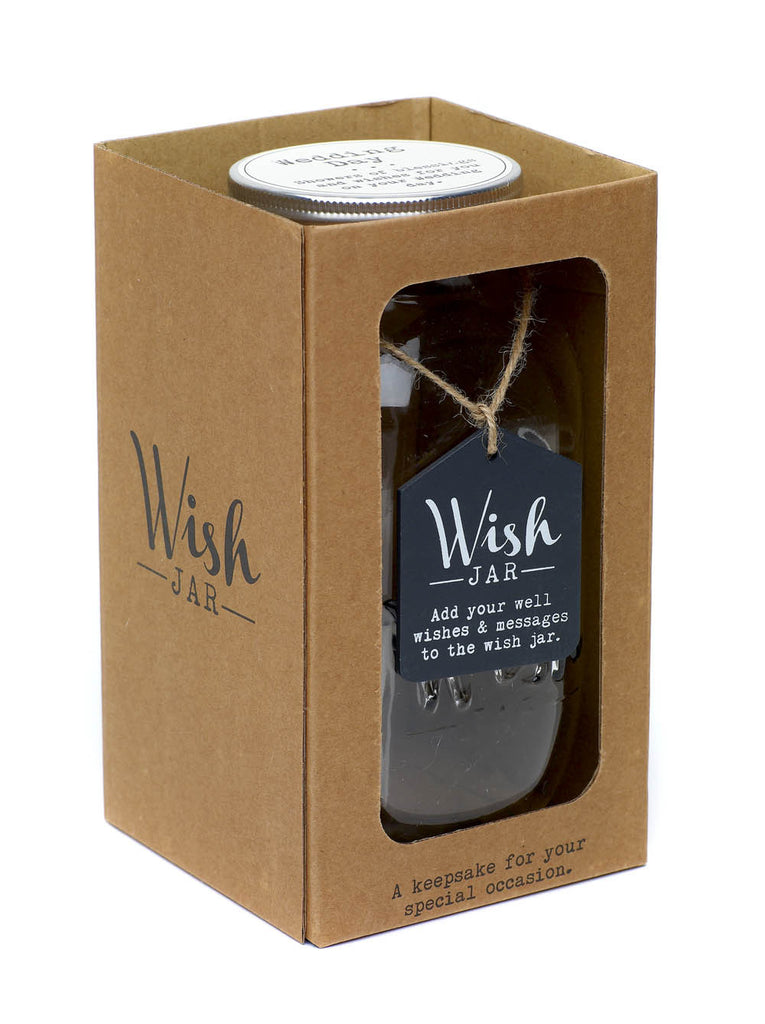 Wedding Day Wish Jar, with pen and wish notes - boxed