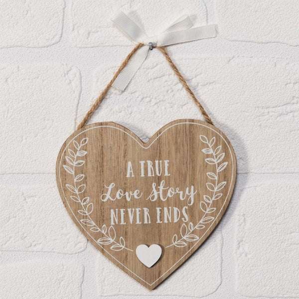 A True Love Story Never Ends- Heart Plaque