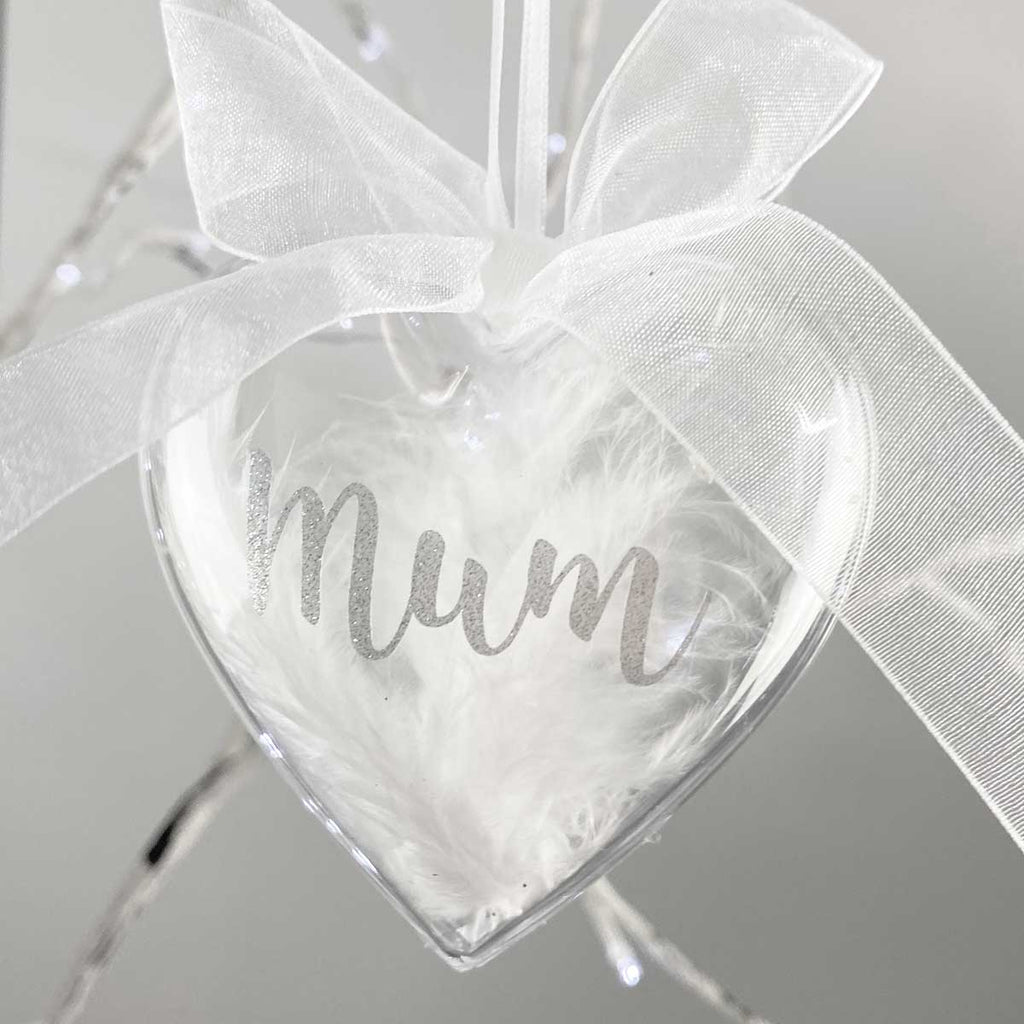 Personalised Feather Filled Heart Memorial Bauble