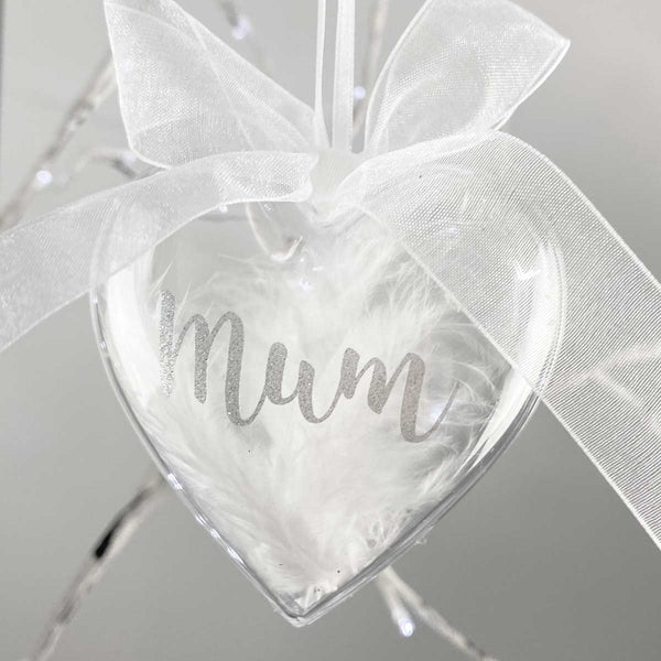 Personalised Feather Filled Acrylic Heart Memorial Bauble