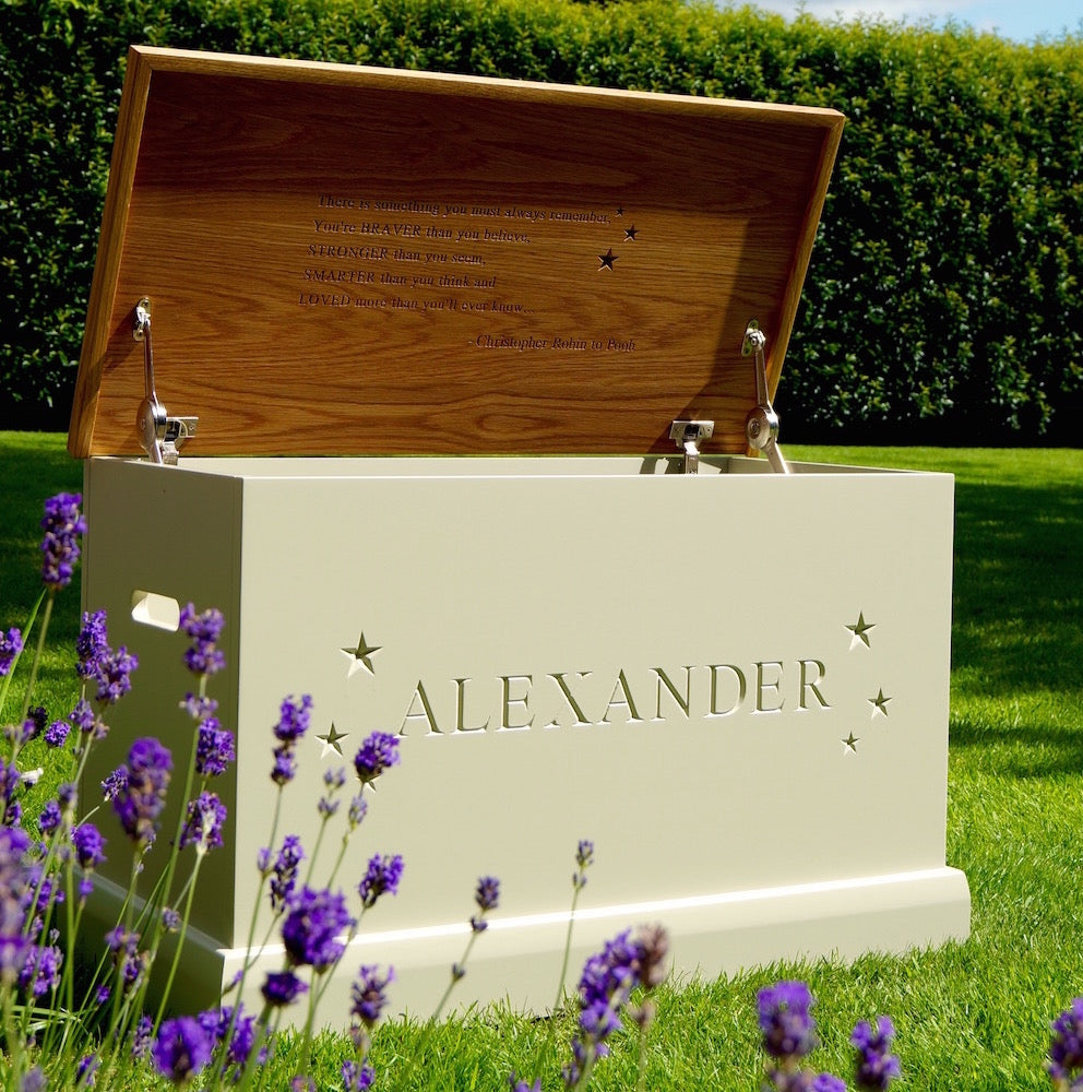 solid wood personalised toy box – the lovely keepsake company