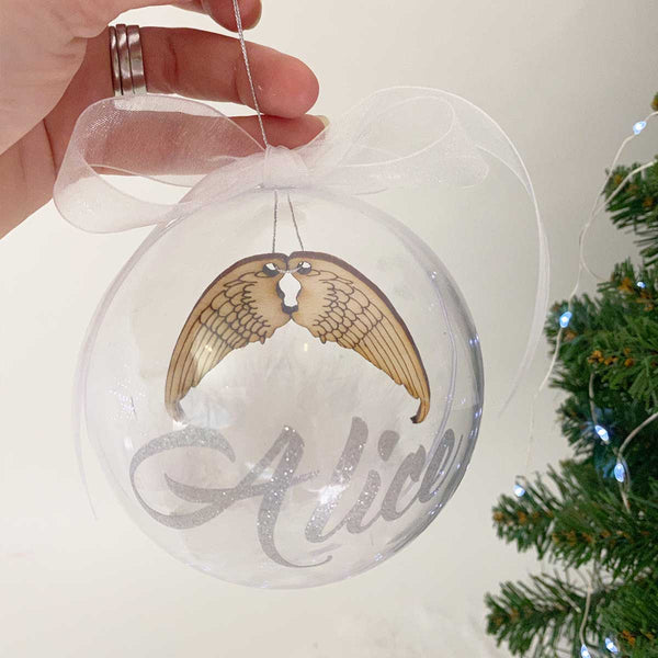 Personalised 'Angel Wings' 10cm Memorial Bauble