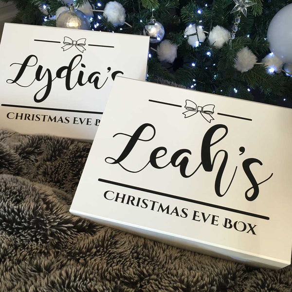 Personalised Christmas Eve Box - Bow (White, Black, Grey, Kraft)