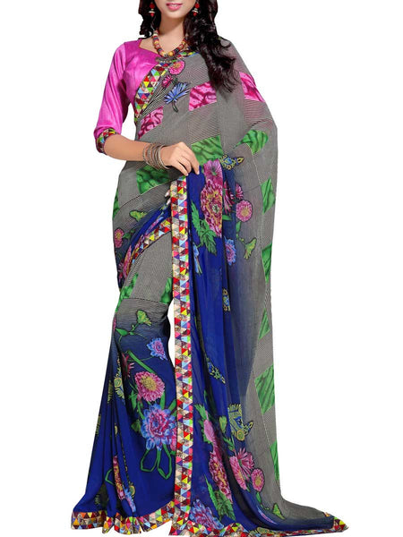 Georgette Embroidered Saree From Surat In Multicolour - DPASA8JL22