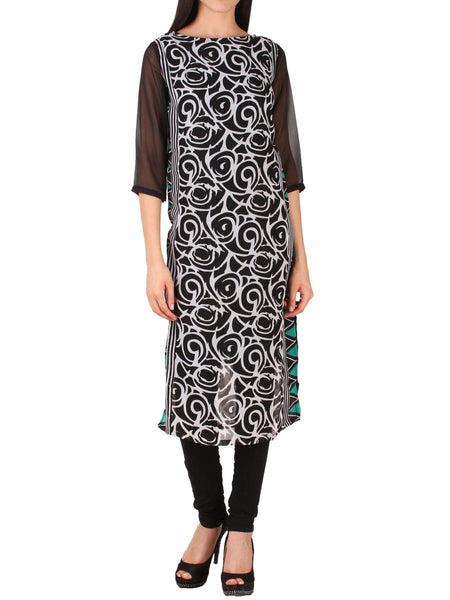 Black Georgette Kurti From Delhi - PDKN30AG1