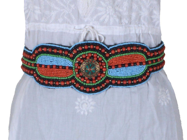 Beaded Waist Belt From Moradabad In MultiColour - 10-CHUJW10FBY10