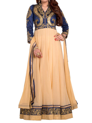 Beige And Blue Colored Georgette Suit - ST-PKAS5MH1