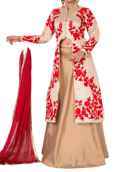 Beige Colored Brocade Suit - ST-PKAS5MH8