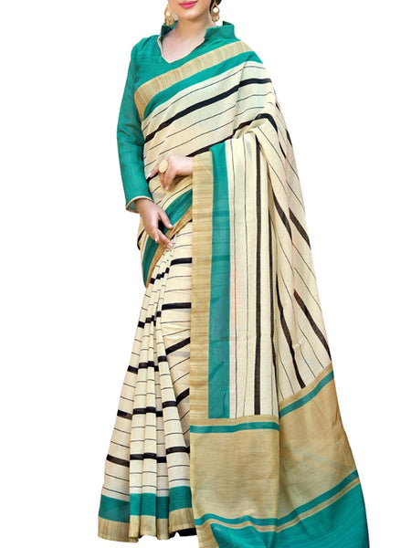 Saree From West Bengal In Sea Green And Beige - PWBSAI19JN122