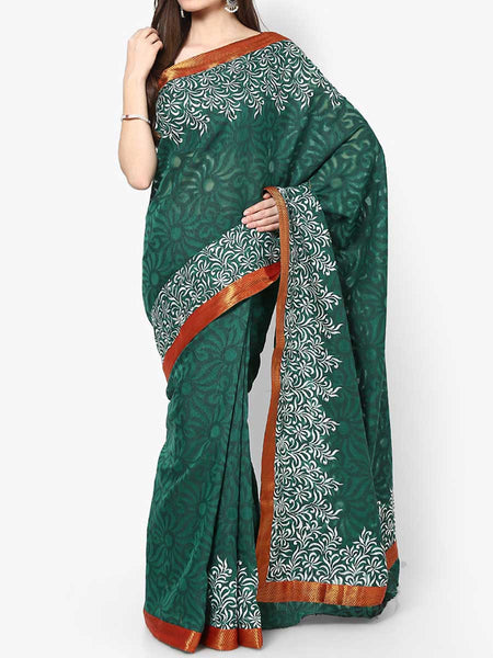 Banarasi Saree In Supernet Green - RB-BPBUSA11JL273