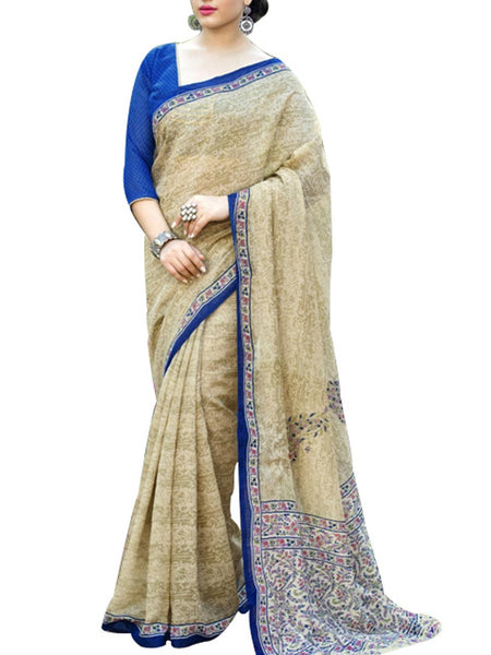 Saree From West Bengal In Beige - PWBSAI19JN124
