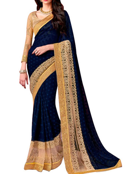 Saree From West Bengal In Violet & Golden - PWBSAI19JN3