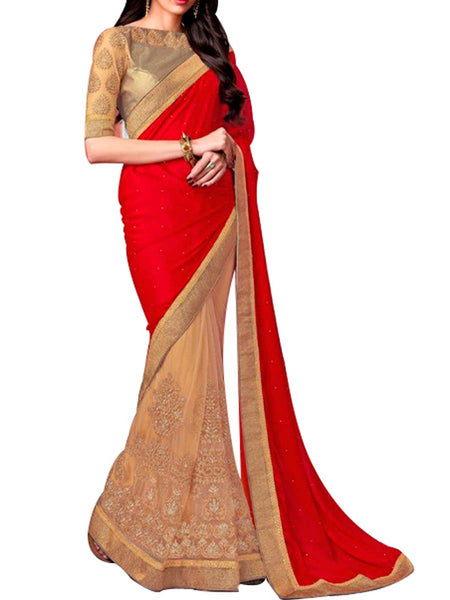 Saree From West Bengal In Red & Golden - PWBSAI19JN4