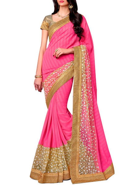 Saree From West Bengal In Pink & Golden - PWBSAI19JN7