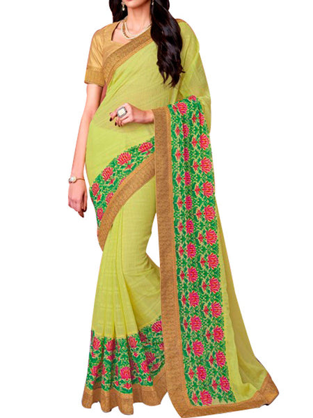Saree From West Bengal In Green - PWBSAI19JN11