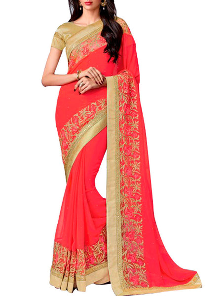 Saree From West Bengal In Red - PWBSAI19JN13