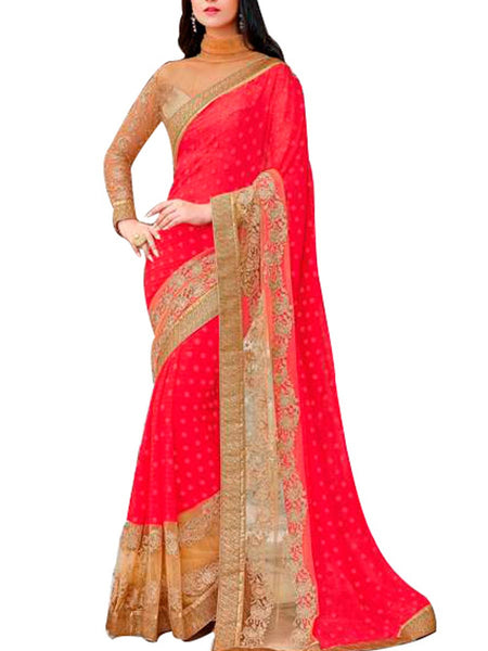 Saree From West Bengal In Red - PWBSAI19JN89