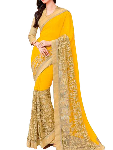 Saree From West Bengal In Yellow - PWBSAI19JN94