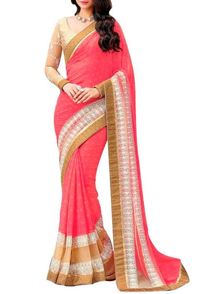 Saree From West Bengal In Pink - PWBSAI19JN96