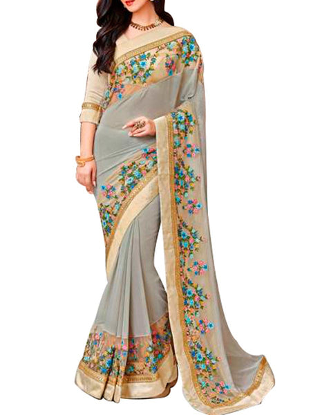 Saree From West Bengal In Steel Blue - PWBSAI19JN97