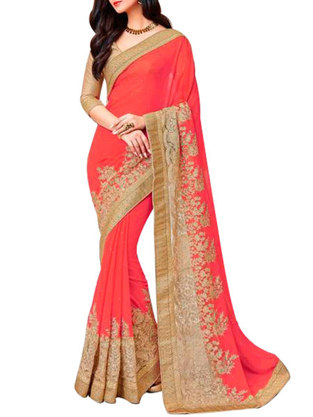 Saree From West Bengal In Red - PWBSAI19JN98