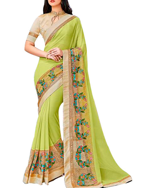 Saree From West Bengal In Chartreuse - PWBSAI19JN100