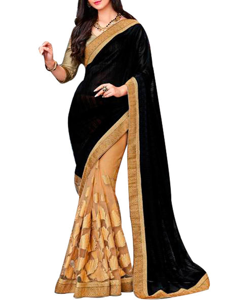 Saree From West Bengal In Black & Golden - PWBSAI19JN101