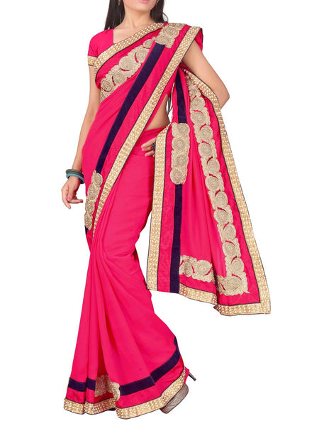 Georgette Embroidered Saree From Surat In Pink - DPASA8JL36