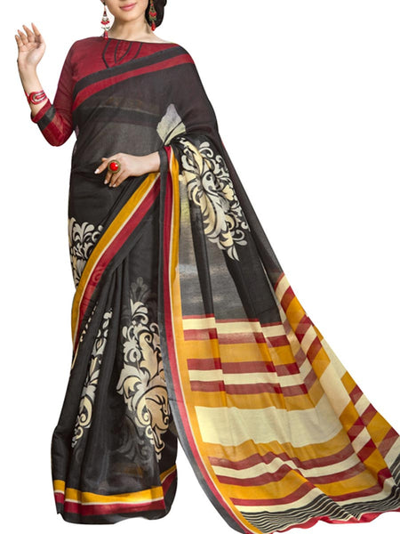 Saree From West Bengal In Black  - PWBSAI19JN128