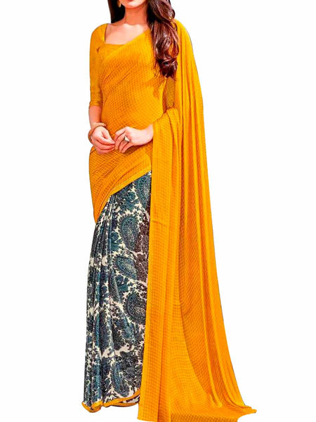 Blue & Yellow Jacquard Georgette & Crepe Georgette Saree With Yellow Crepe Blouse - PWBSAI28JL36
