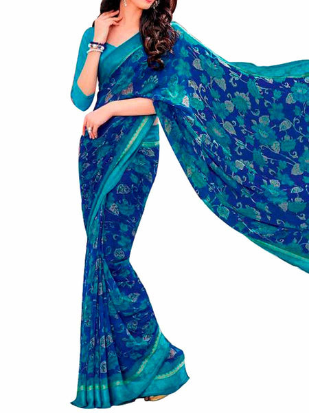Multi Georgette Saree With Blue Georgette Blouse - PWBSAI28JL37