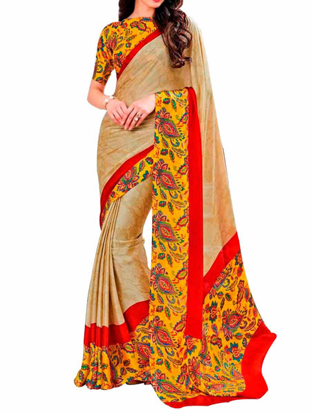 Golden Brasso Jacquard Saree With Multi Crepe Silk Blouse - PWBSAI28JL46