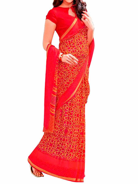 Multi Georgette Saree With Red Georgette Blouse - PWBSAI28JL47