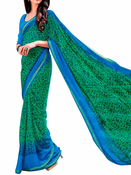 Multi Georgette Saree With Blue Georgette Blouse - PWBSAI28JL48