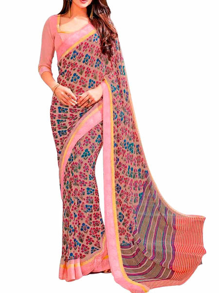 Multi Georgette Saree With Pink Georgette Blouse - PWBSAI28JL49